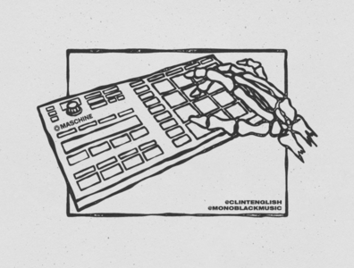 Maschine Mikro MK3 procreate illustration design texture hand drawn drawing sketch skeleton hand skull hand skeleton drums drum pad beat pad beats beat native instruments mk3 mikro maschine