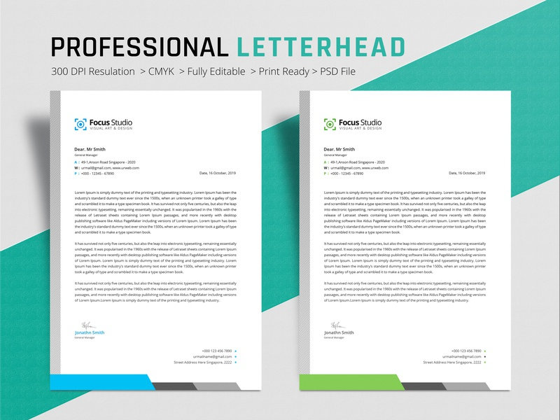 Letterhead Design letter professional letterhead letterhead template letterhead design letterhead colorful blue a4 print design business clean branding design professional design professional design crative graphic design branding awesome corporate