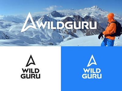 WildGuru geo mountain logo mountain alpinism trekking mountaineering ski touring logodesign vector mark branding brand logotype logo
