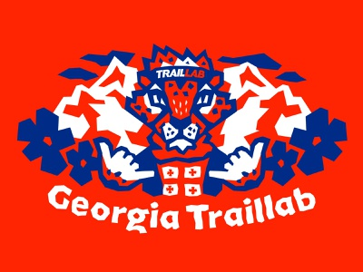 Georgia TrailLab. Mascot. jaguar cat mountain guepard cheetah georgia sky running trail running trail mascot face design vector branding illustration character