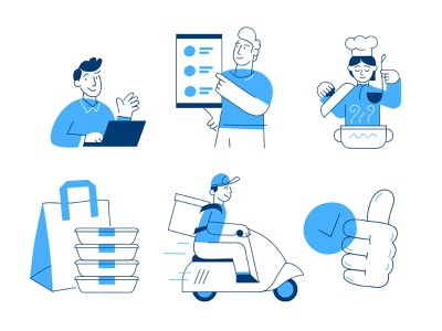 Illustrations for FlyLunch (delivery app) delivery app cooking delivery design vector illustration character