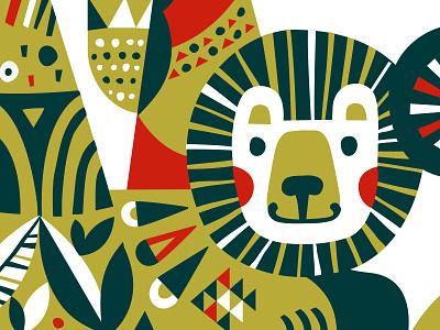 Part illustration for JAF TEA vector srilanka new year christmas tea illustration character lion head huge lion
