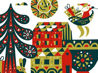 Part illustration for JAF TEA pattern santaclaus new year sun huge tea ceylon santa christmas