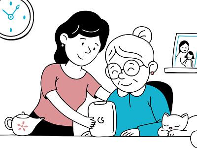 Family cat family help elderly care vector illustration character