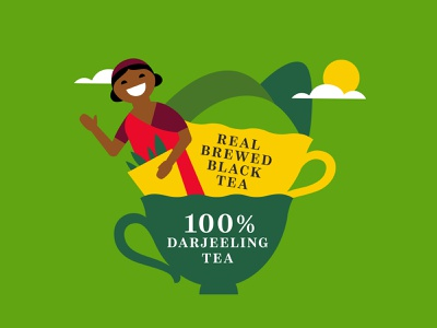 Set illustration for iced tea JAF TEA jaf tea earl gray flat darjeeling tea ceylon srilanka vector packaging branding illustration character
