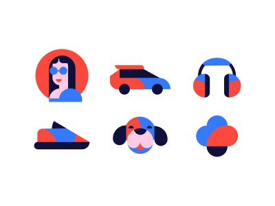 Icons for Joom. Concept. app ux face branding mark vector character illustration icon design iconography icon set icons