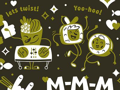 Illustration for Sushi Freak sushi roll sushi pattern design dance vector branding illustration character