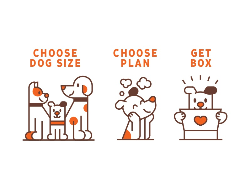 Some icons heart box dog