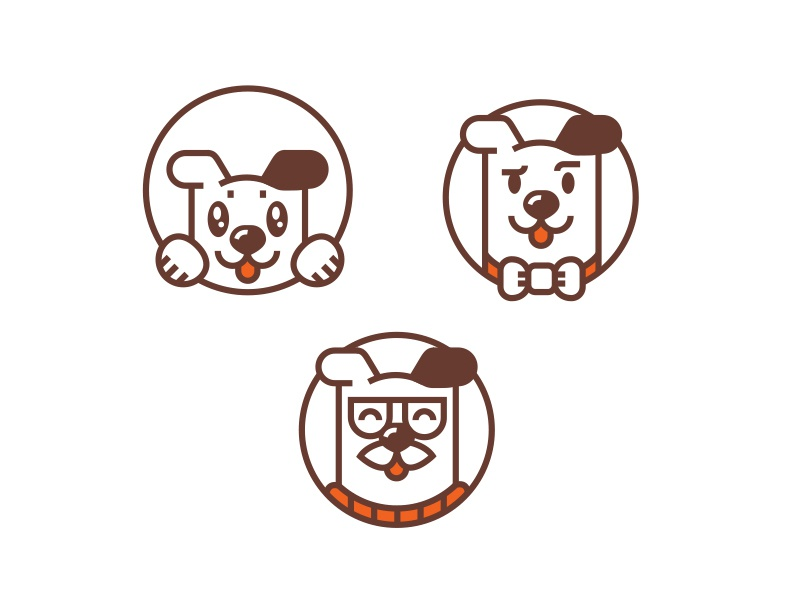 Some icons puppy box dog