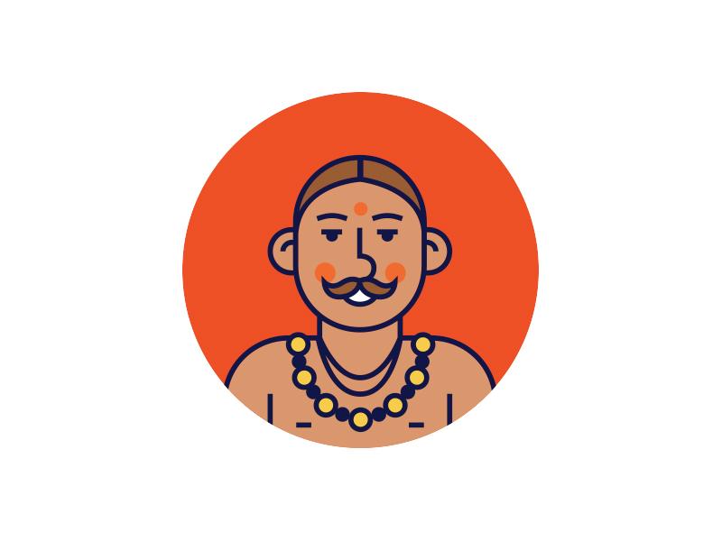 Hinduism line india character icon hinduism