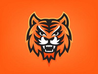 Tiger mascot mark logo face sport tiger
