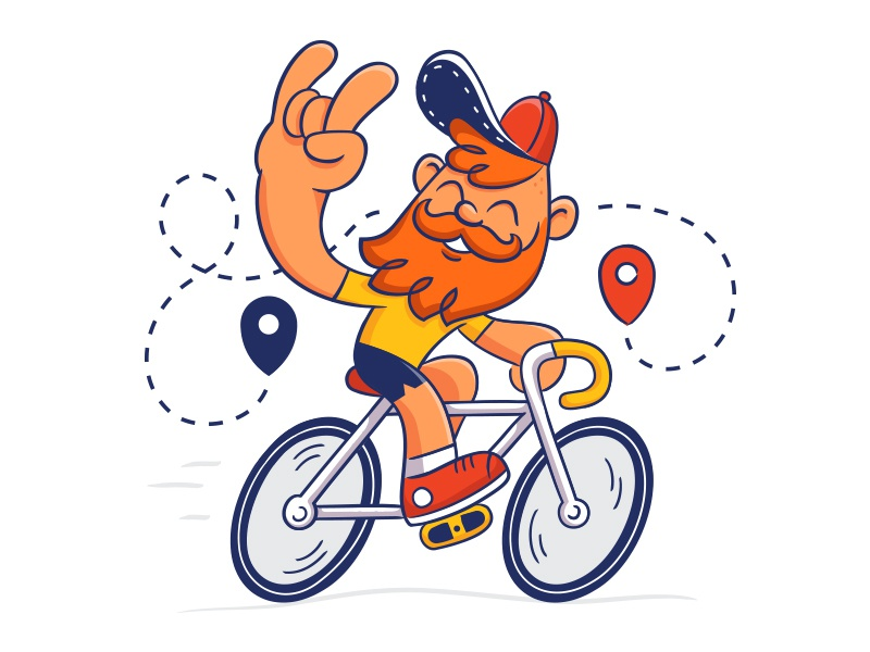 Hipster on a bike hipster beard bicycle bike illustration character