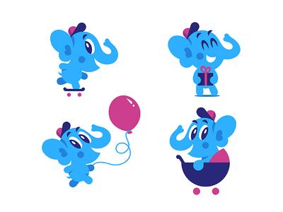 Baby Elephant. Vector mascot :) creativemarket vector skateboard mascot kid elephant character baby