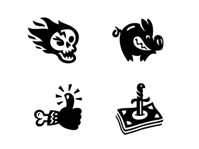 Illustrations for Tattoo Mall online store tattoo icon set like money pig icon icon design icons branding mark design vector illustration character