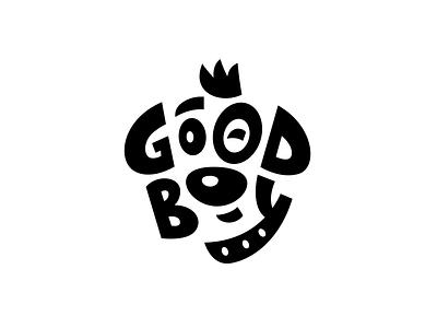 Good Boy logo puppy branding pet typography mark vector icon face logo dog illustration character