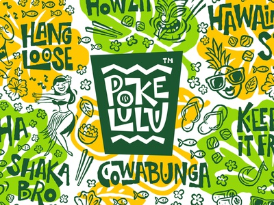 Poke Lulu. Branding for Hawaiian takeaway restaurant