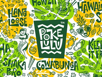 Poke Lulu. Branding for Hawaiian takeaway restaurant shaka poke takeout takeaway hawaiian vector design food pattern logo branding illustration character