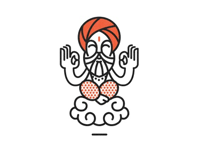 Monk mascot design icon face vector branding mark simple monoline logo illustration character design character india ayurveda monk