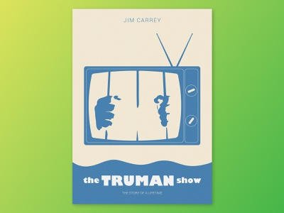 Film poster - The Truman Show (Olly Moss) movie grain illustrator olly moss the truman show film poster film