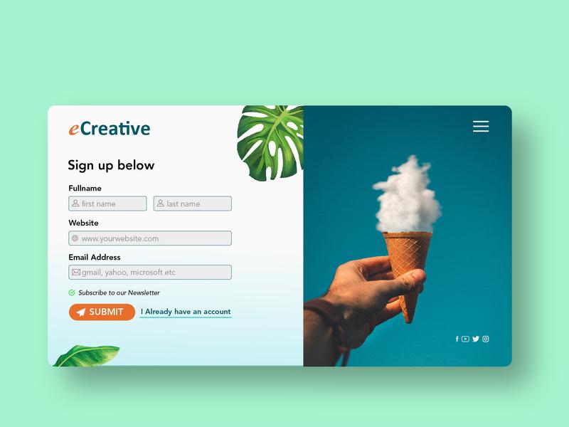 eCreative Sign Up form UI design vector ux ui deisgn ui illustration branding adobe ilustrator