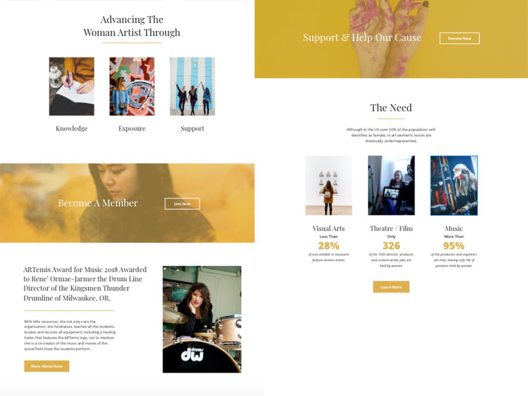 Women in The Arts Non Profit Website Design layout serifs yellow arts non-profit design ui web  design