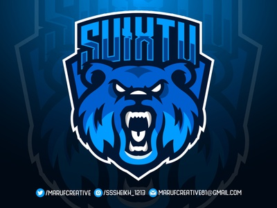 Crazy bear mascot logo design gaming logo gaminglogo gaming bearded branding esports logo esportlogo cartoonmascot mascot character concept mascot design illustration bear logo bear