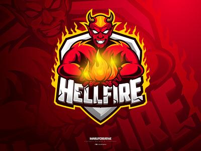 Hellfire Monster Gaming Esports Logo Design | MAscot logo branding vintage logo esports logo logo design cartoonmascot esportlogo vector mascot character illustration mascot