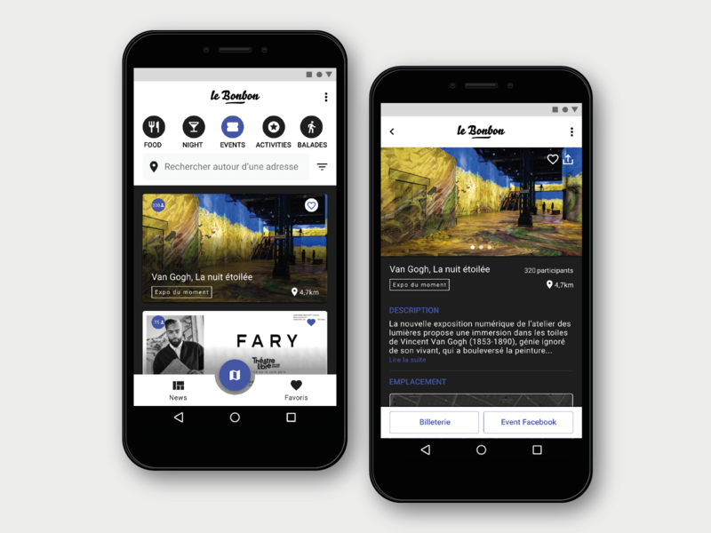 Redesign of Le Bonbon App application figma black  white french redesign ux ui design interface mobile app android