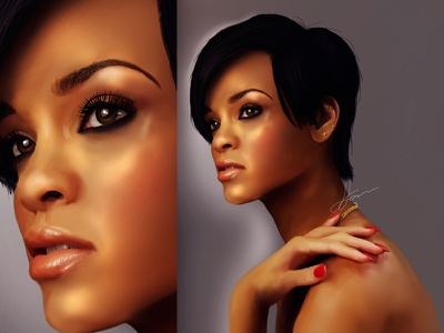 Rihanna Digital Portrait Final mangastudio wacom celebrity singer music musician illustration digital portrait rihanna
