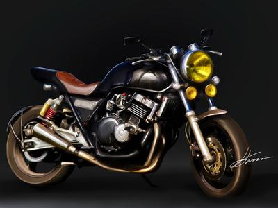 Honda CB400 Digital Illustration super artwork commission mangastudio wacom illustration vintage bike motorbike 400cc honda