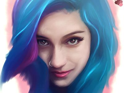 Fay Suicidegirls Digital Portrait Wip mangastudio wacom piercing woman sexy digital illustration portrait pink hair blue hair suicidegirls emo tattoo