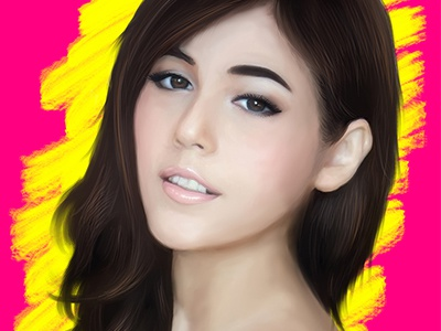 Chompo Araya Digital Portrait mangastudio wacom singer asian woman sexy model superstar actress bangkok thai