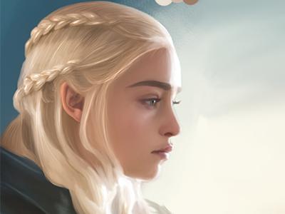 Game Of Thrones - Digital Illustration (wip) gameofthrones got actress daenerystargaryen digital illustration digital portrait burlesque medieval