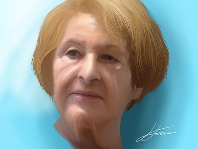 My Mother ugee realistic drawing digital painting mangastudiomx painting mom wrinkles old mother