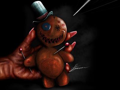 Vodoo Doll Full 3d realistic cartoon ugee mangastudio digital painting doll vodoo