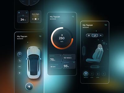 Porsche Taycan Assistant figma battery cards ui car ios app gradient automotive electric car controls glassmrphism ui
