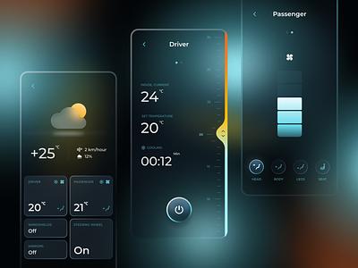 Porsche Taycan Assistant. Climat Control passenger driver gradient thermostat climat control controls cards ui figma design automotive ios app car ui