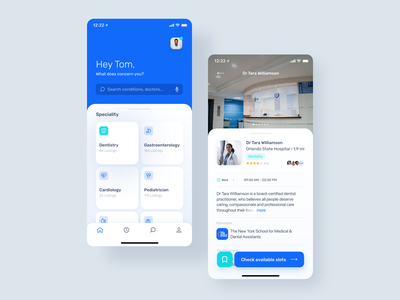 Healthcare providers search app typography cards ui calendar list search healthcare ux design product design figma mobile app mobile app design ios app ios ux ui