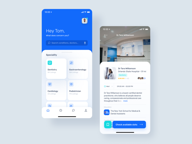 Healthcare providers search app typography cards ui calendar list search healthcare ux design product design figma mobile app mobile app design ios app ios ux ui