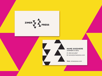 Logo and Business Cards icon negative negative space yellow pink stationary design stationary collateral print cards business cards business z logo