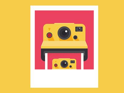 Polaroid of a Polaroid icon graphic funny photos photo print art lens red yellow illustration camera cam