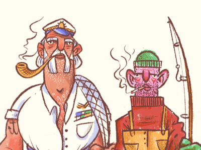 Fishermen pole net ocean sea ship smoke eyes figures character illustration illustration character design studies characters faces face pipe fisher fish