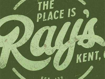Ray's Place peeling paint distressed texture r ohio kent logo badge font script graphic wall