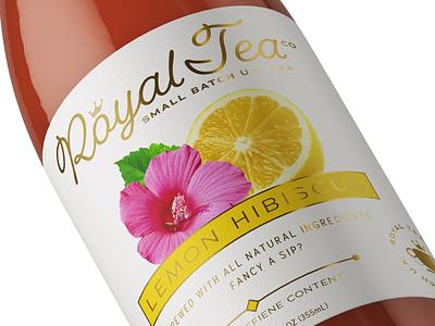 Royal Tea Label (Mockup) script crown badge printing gold lemon labeling label packaging package tea