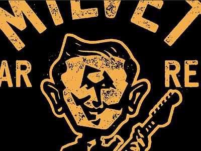 Logo guitar branding icon design character outline yellow badge hair eyes smile face logos logo