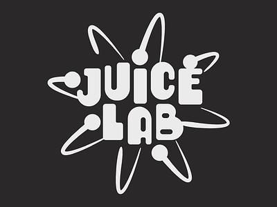 Juice Lab Logo spin healthy health smoothie fruit typography type beaker atom nucleus juice lab science