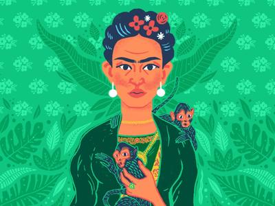 Frida Kahlo (snippet) monkey forest green leaf leaves jungle fridakahlo frida feminine female woman portrait face drawing draw artist art illustration illustrate