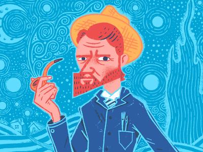 Van Gogh (snippet) illustration painter pipe hat portrait swirls starry night night stars artist art vincent vangogh van gogh