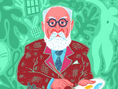 Matisse (Snippet) painter suit beard glasses face characters character design cutout artist henri matisse henri matisse