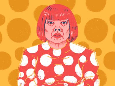 Kusama (Snippet) wig hair face portrait japanese japan red woman character modern art modern artist polka dots polka dots dot mirrors infinity yayoi kusama